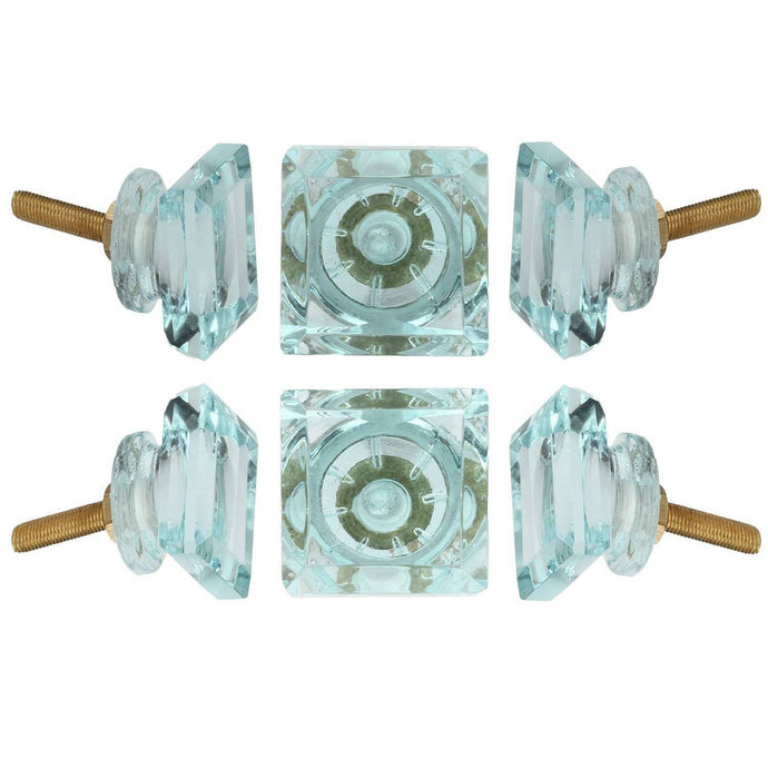 Turquoise Glass Knob Set Of 6 - Perilla Home