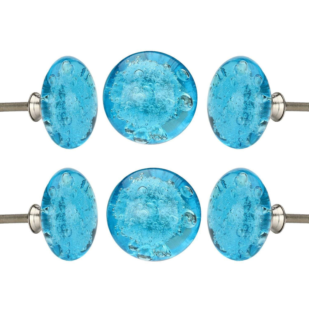 Turquoise Bubble Glass Knob Set Of 6 - Perilla Home