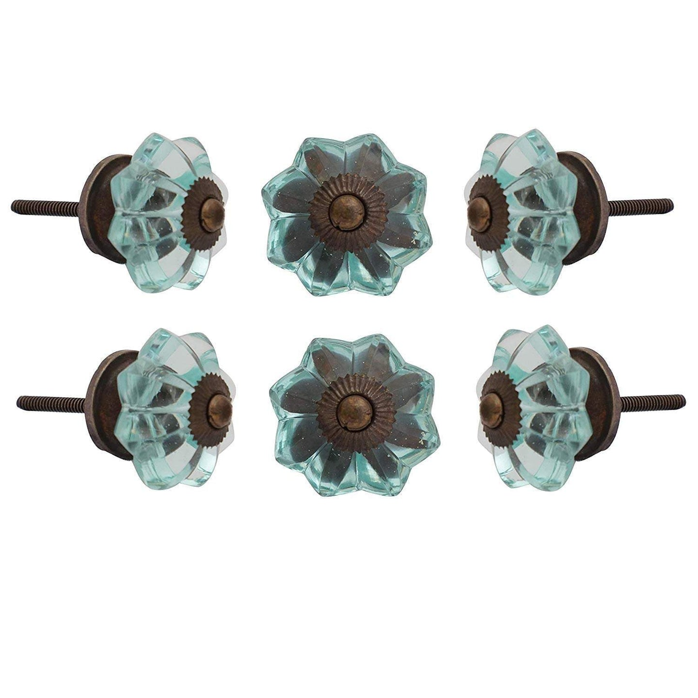 Light Blue Melon Glass Knob - Perilla Home