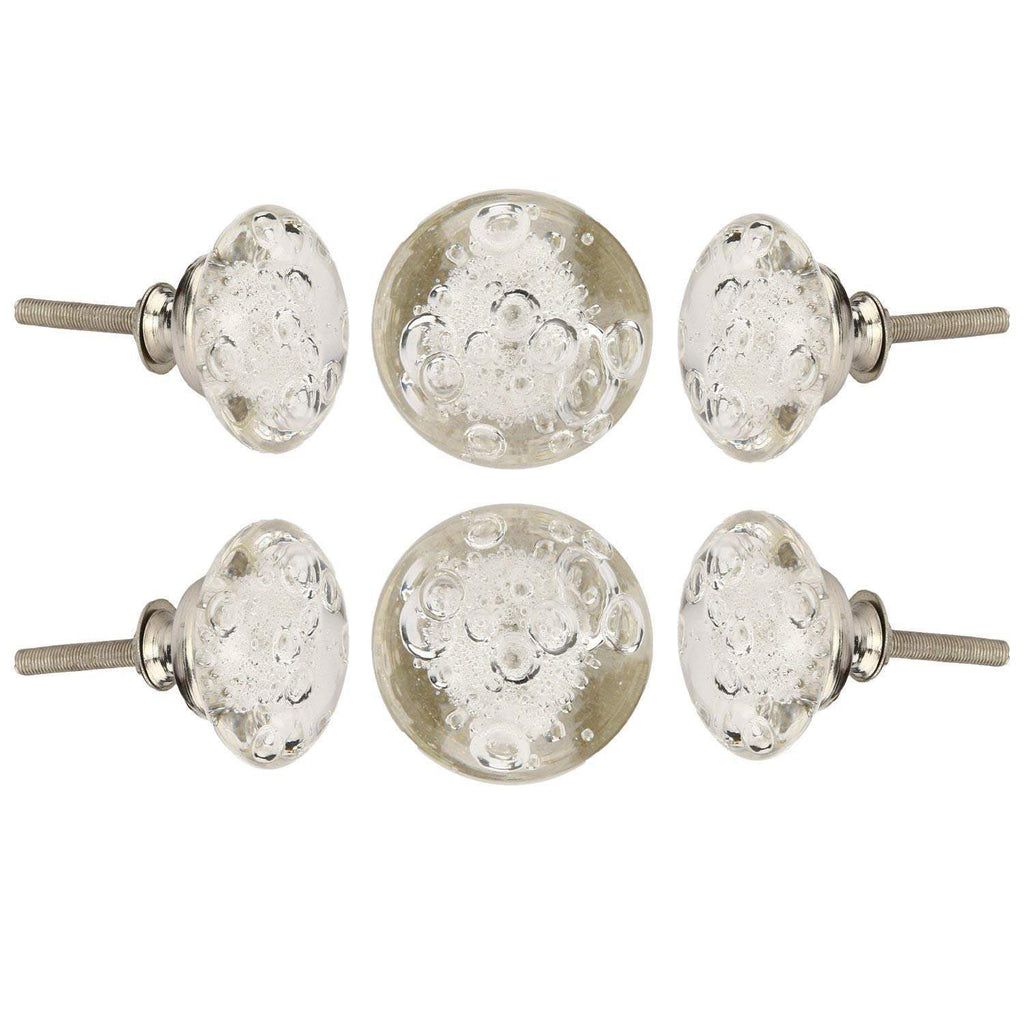 Clear Bubble Glass Drawer Knob set of 6