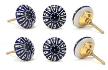 Load image into Gallery viewer, Dark Blue Printed Ceramic Knob Set Of 6 - Perilla Home