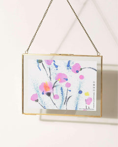 Personalized Glass & Brass Hanging Photo Frame 8*8""