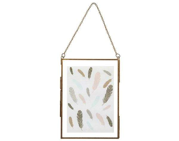 Square Glass Metal Edge Hang Photo Frame - Perilla Home