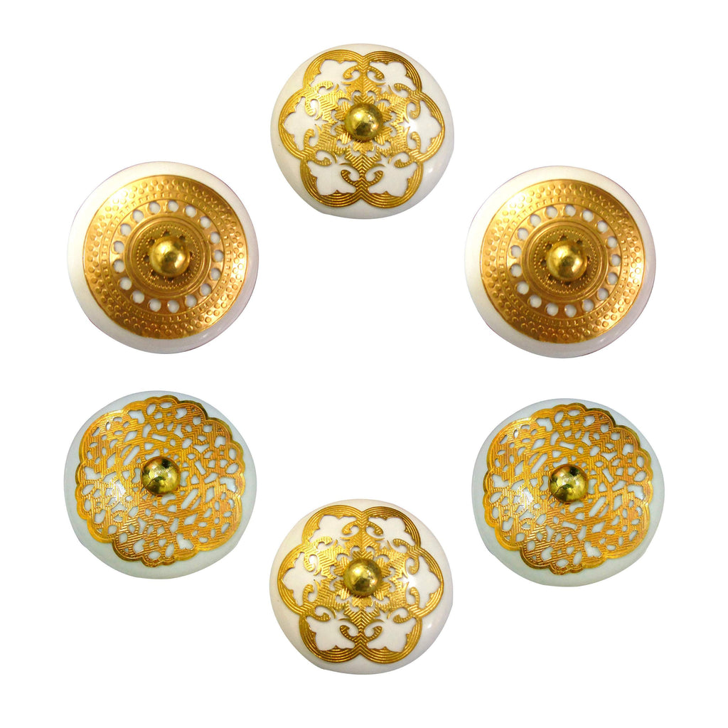 Golden Round Ceramic drawer Knob set of 6