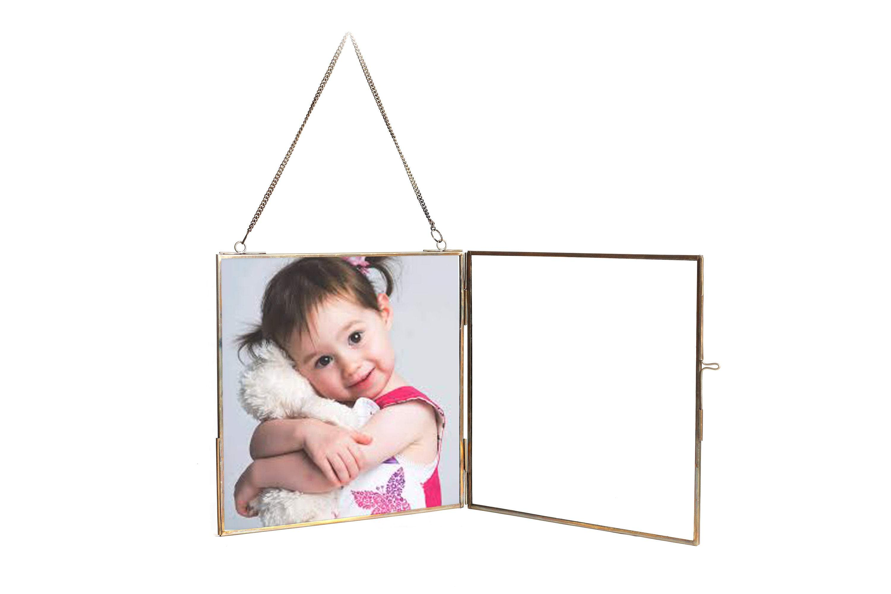 "Personalized Glass & Brass Hanging Photo Frame 8*8"" - Perilla Home"