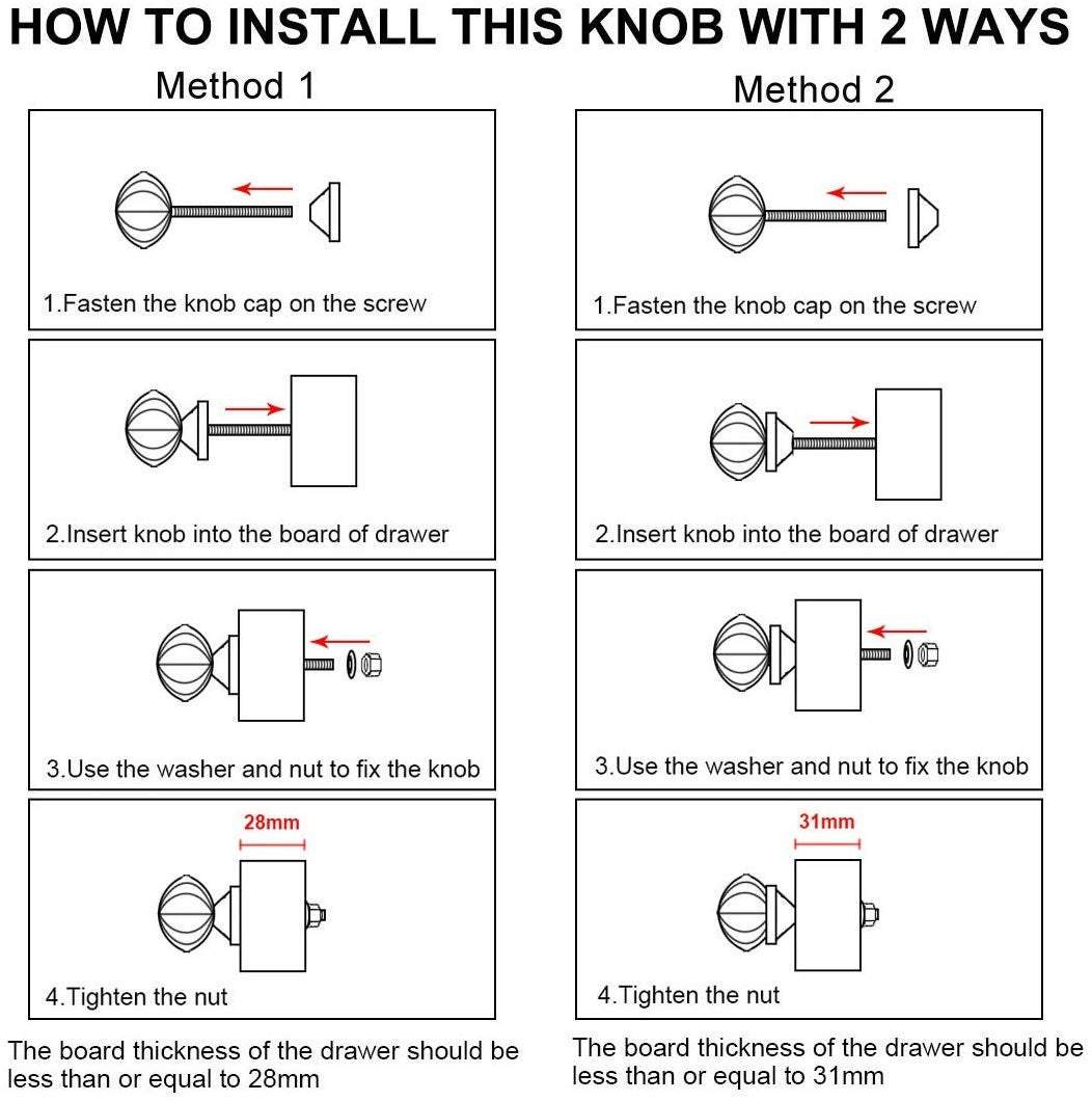install knob in a drawer