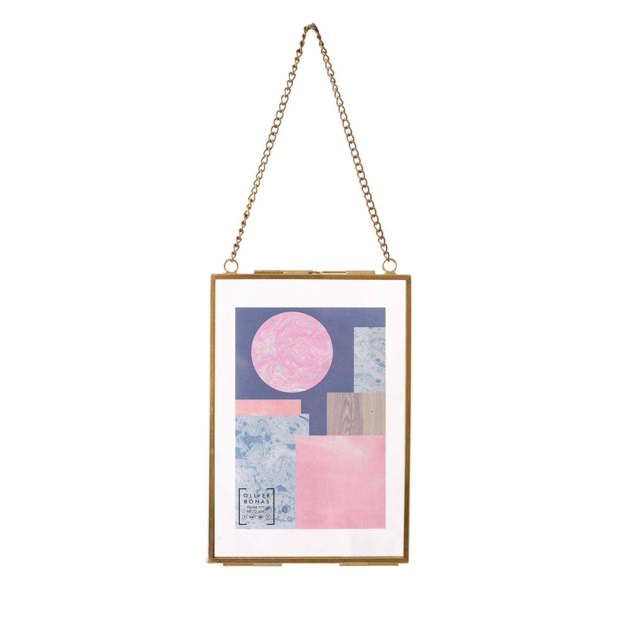 Personalized Glass & Brass Hanging Photo Frame 6*4""