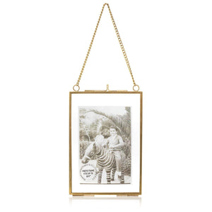 "Personalized Glass & Brass Hanging Photo Frame 6*4"" - Perilla Home"