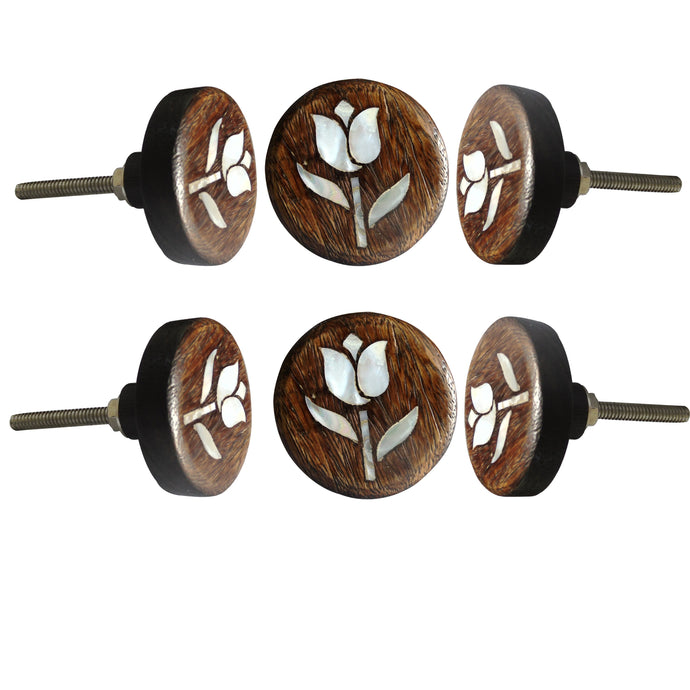Tulip Flower MOP Wooden Round Knob Set Of 6 - Perilla Home