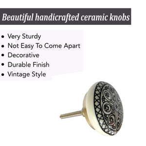 Mix Design Printed Ceramic Grey Knobs - Perilla Home