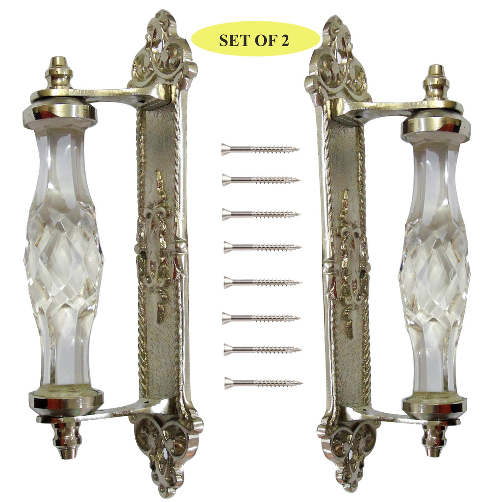 Chrome & Clear Glass Decorative Furniture Handle set of 2