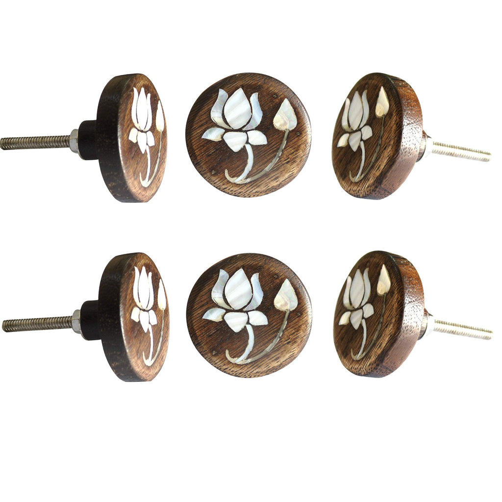 Lotus Flower MOP Wooden Round Knob - Perilla Home
