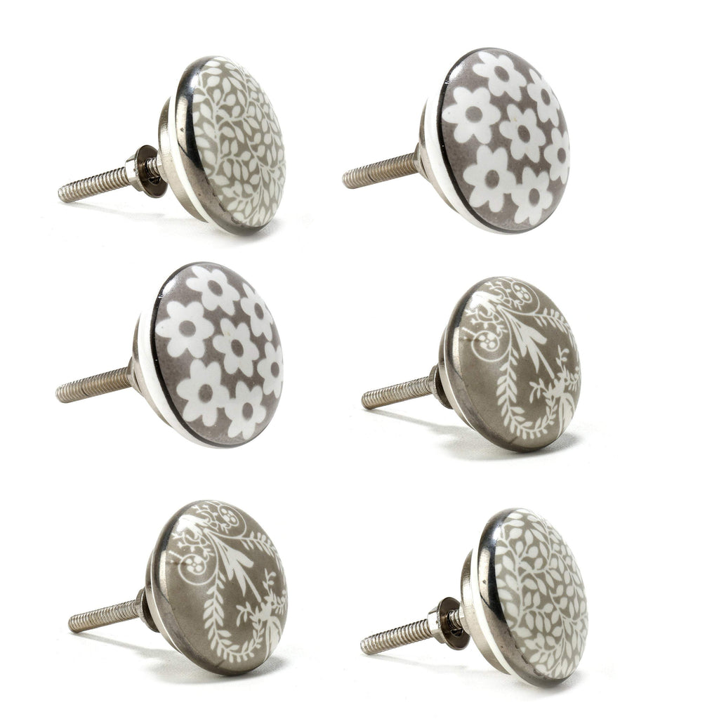 Flower Design Ceramic Knobs - Perilla Home