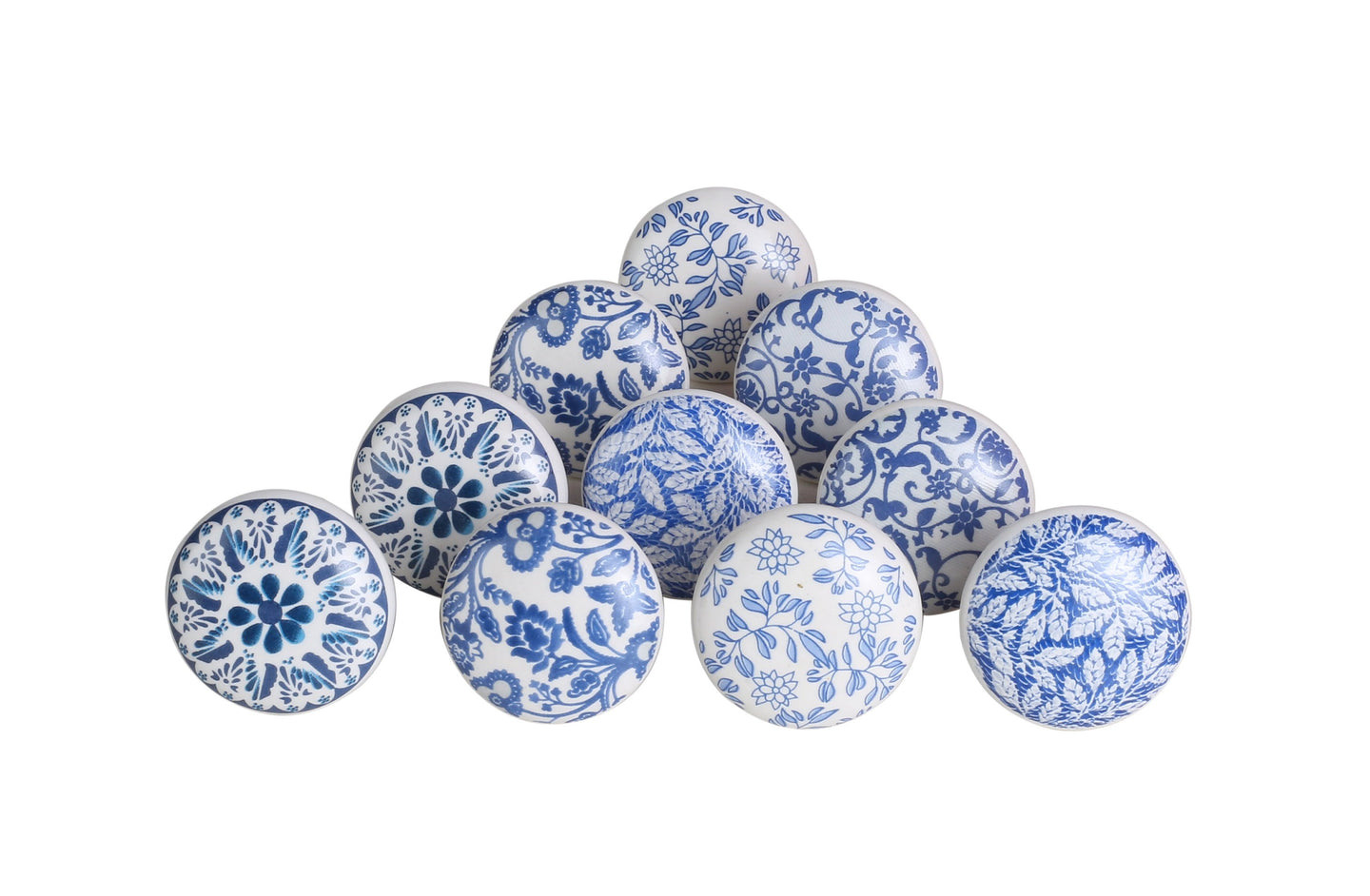Ceramic Flower Blue Leaf Cupboard Pull Set Of 10 - Perilla Home