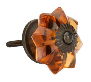 amber melon glass knob side view