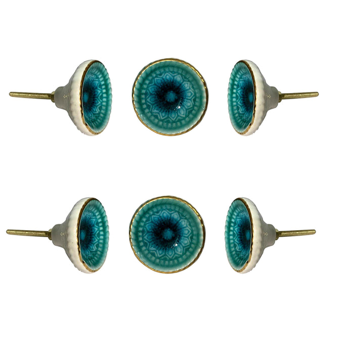 Marrakech Ceramic Knob Turquoise ( Set Of 6 ) - Perilla Home
