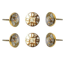 Carica l'immagine nel visualizzatore di Gallery, Set Of Six Brass Mother Of Pearl Knobs - Perilla Home