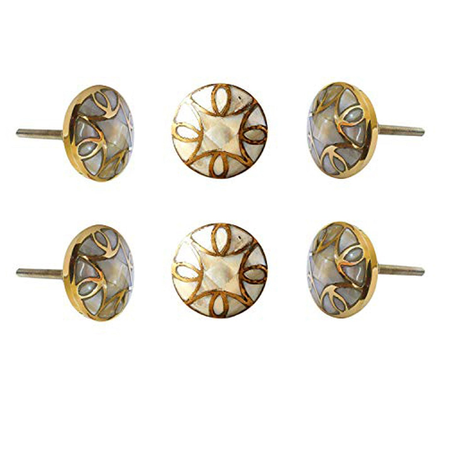 Set Of Six Brass Mother Of Pearl Knobs - Perilla Home