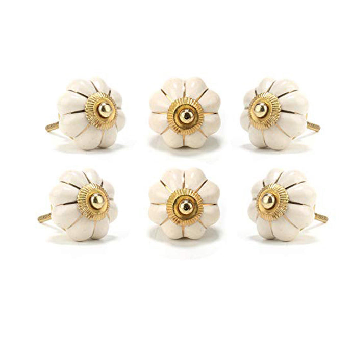 Set Of Six Off White Ceramic Flower Knobs - Perilla Home