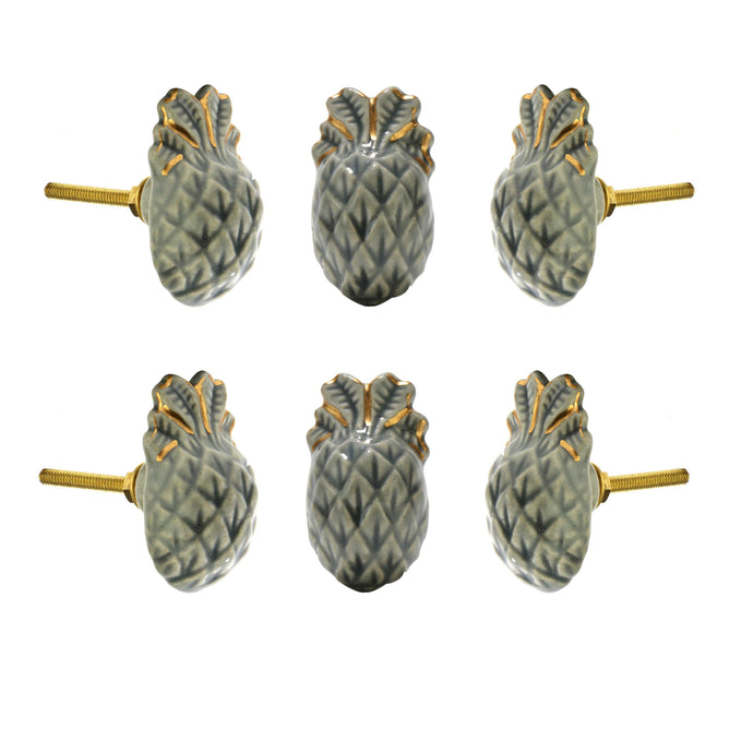 Pineapple Ceramic Knob (Set Of 6) - Perilla Home
