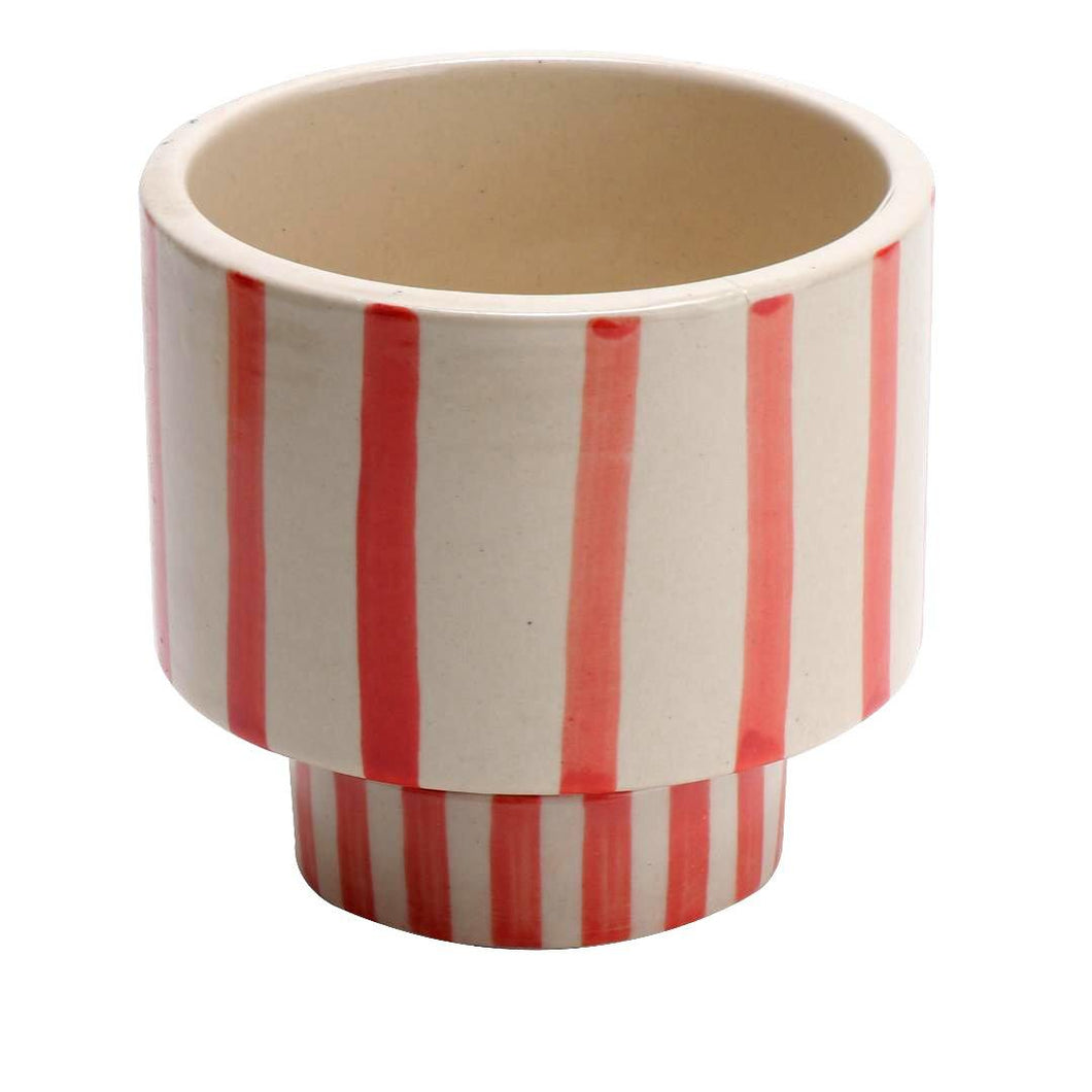 Red Striped Planter Pot