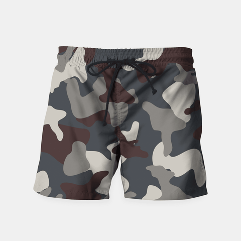 Grey Blue Army Camouflage Pattern Shorts (Men)