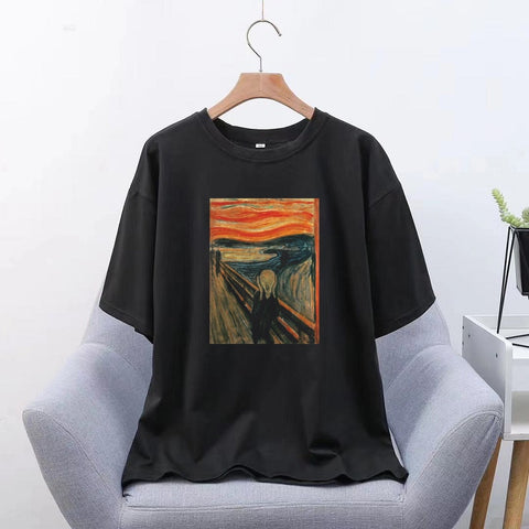 Edward Munch {Shout} Korean Style Aesthetic T Shirt Streetwear Modis (Women)