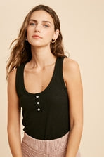 Button Down Everyday Tank black