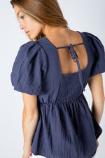 Puff Sleeve Baby Doll Top