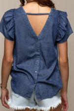 Ruffle Sleeve Denim Shirt
