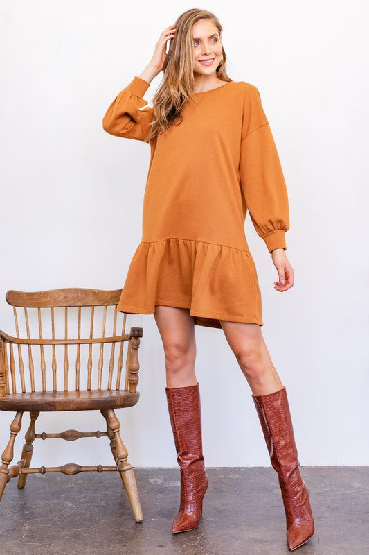 Ruffled Mini Sweatshirt Dress