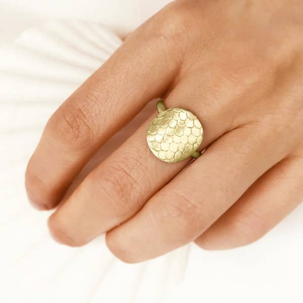 Gold Mermaid Scale Ring (8)