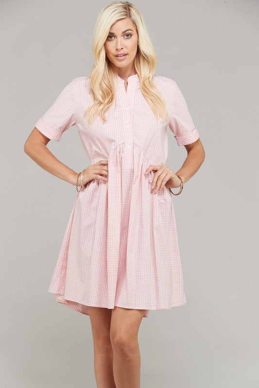 Gingham Button Down Dress Blush