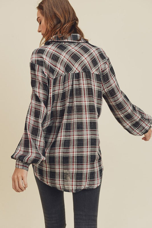 Cotton plaid charcoal shirt