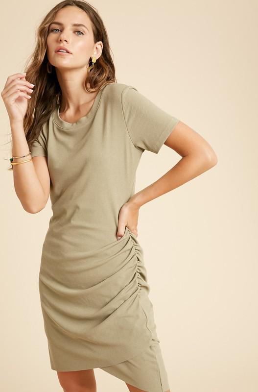 Ribbed Ruched Midi Dress