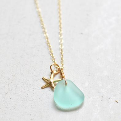 Sea Glass & Starfish Gold Necklace