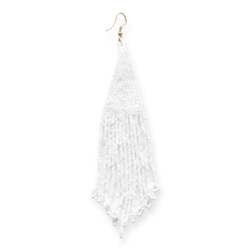 White Long Fringe Earrings