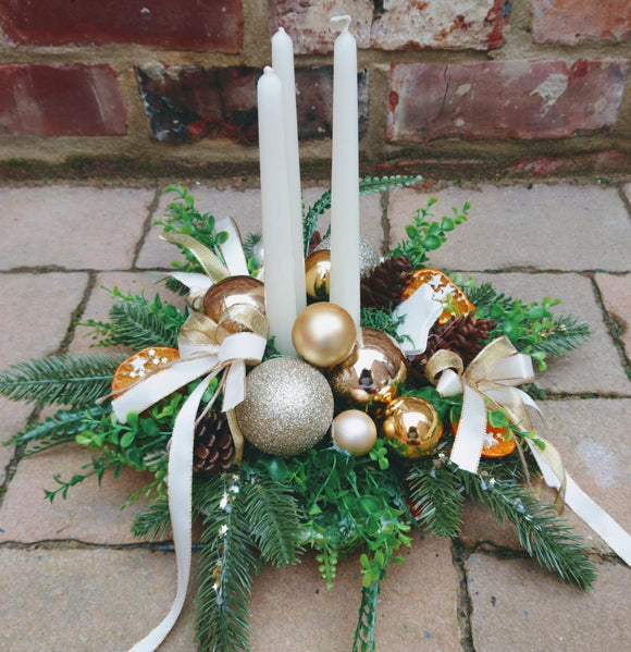 Handmade Christmas Gold Table Centrepiece