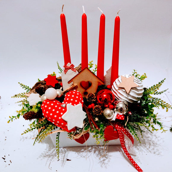 Handmade white red polka dot rectangle Christmas arrangement.