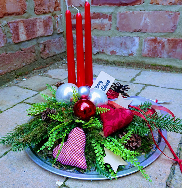 Handmade Red Shabby Chic Fabric Hearts Christmas Arrangement