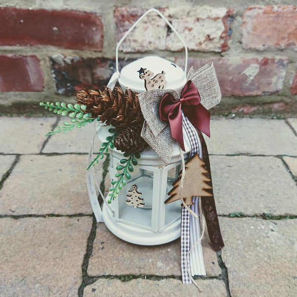Christmas , lantern, decoration,brown pine cones