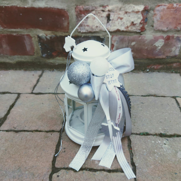 Christmas lantern decoration grey,silver