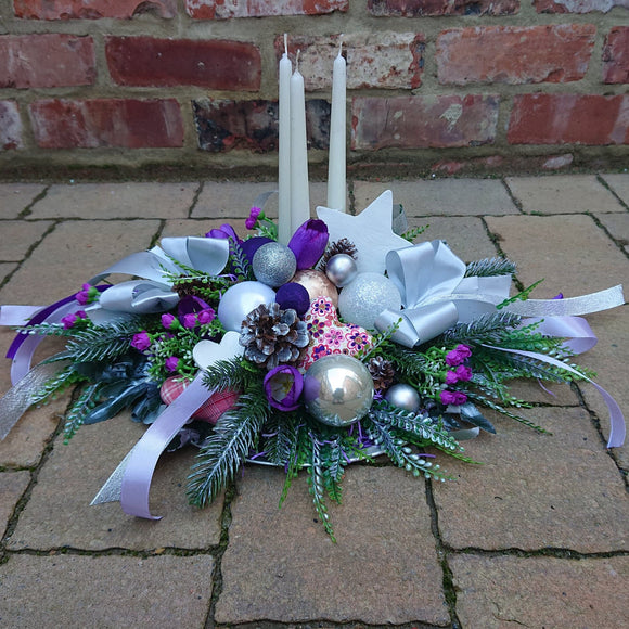 Christmas centerpiece purple silver white arrangement