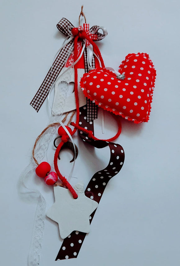 Handmade wall hangin deco,polka dot fabric heart