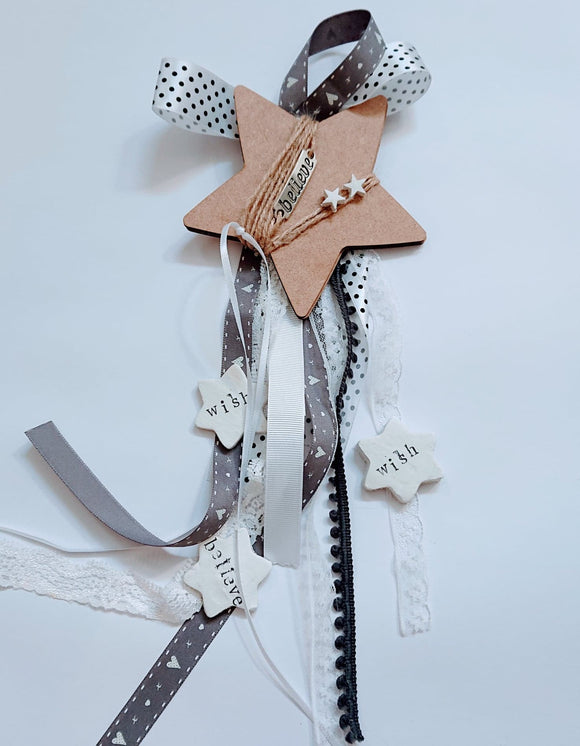 Handmade lucky charm,wooden star BELIEVE wish