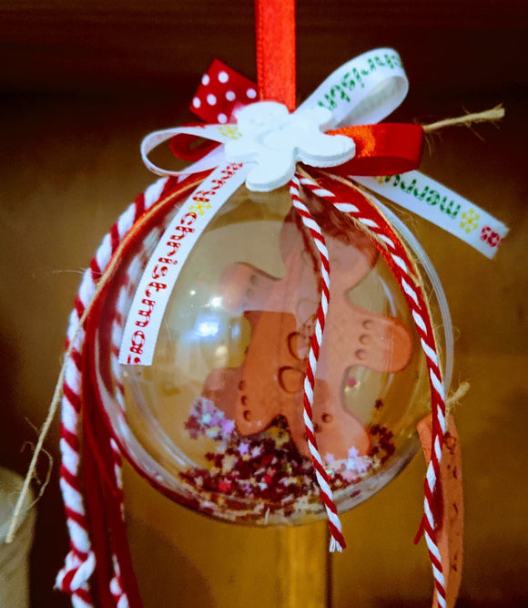 Christmas filling customised bauble gingerbread man