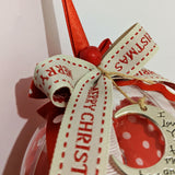 Christmas bauble,ornament, lucky charm polka dot red