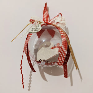 Christmas bauble, ornament, lucky charm red checked