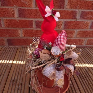 Easter rustic red bunny decoration