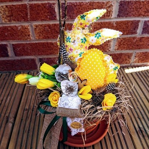 Easter rustic yellow bunny decoration